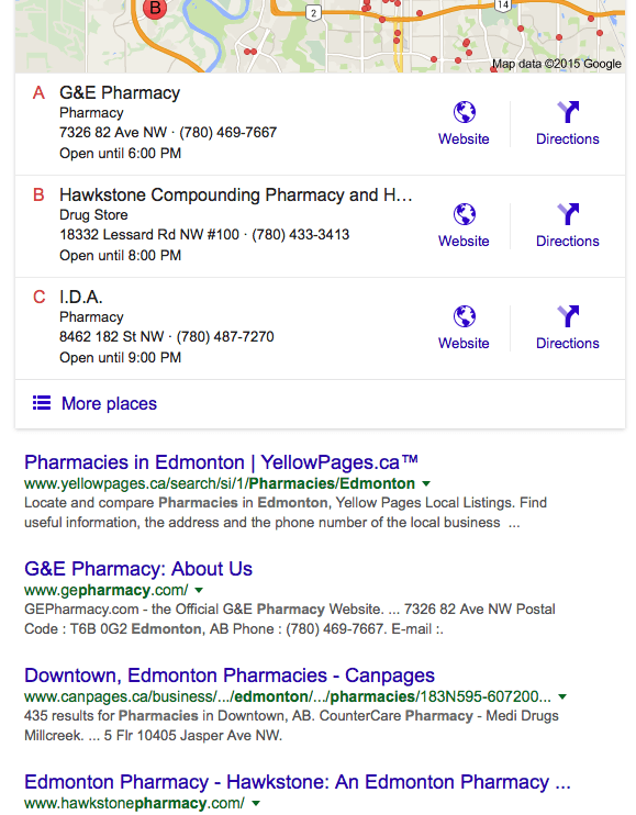 ScreenShot for Pharmacy Edmonton Google Search result