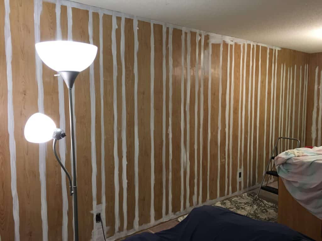 1970's wood paneling primed