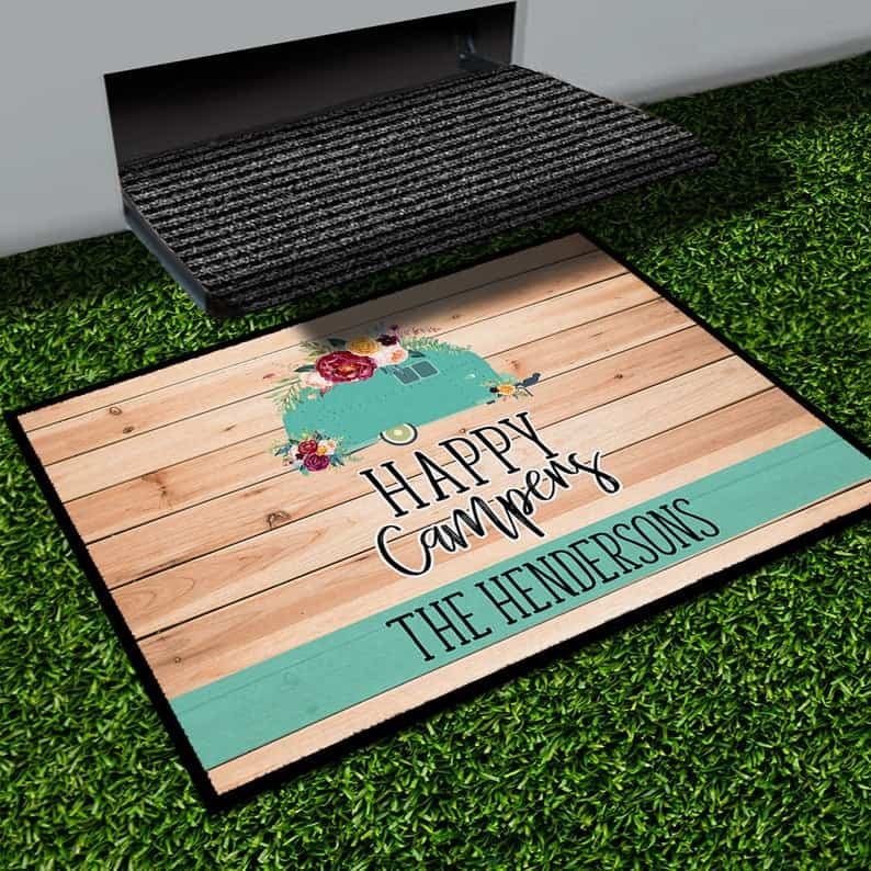 Attractive RV decor idea - a nice outdoor RV doormat like this one from Etsy