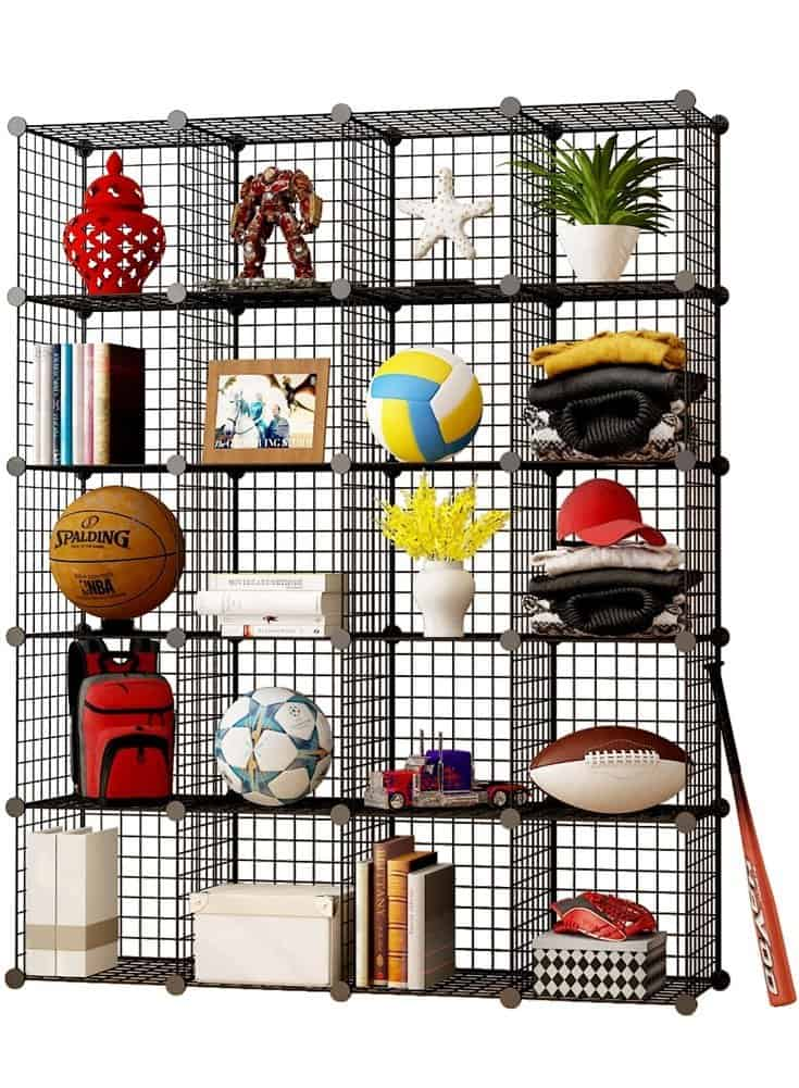 Wire shelving unit cubes make a great RV bedroom organization idea. They can be used inside RV closets to provide some extra shelves and organization options.