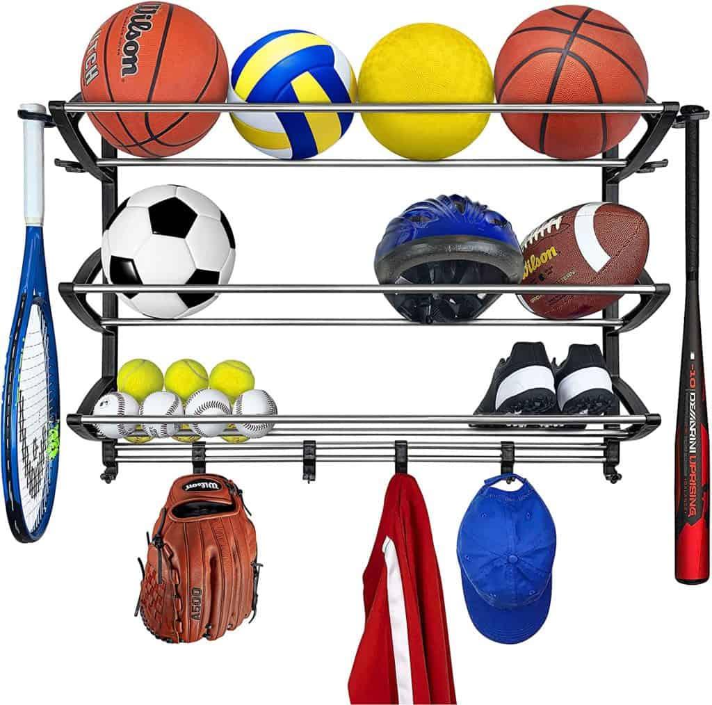 Garage Organization ideas - a sports rack to hold sports balls, rackets, etc...