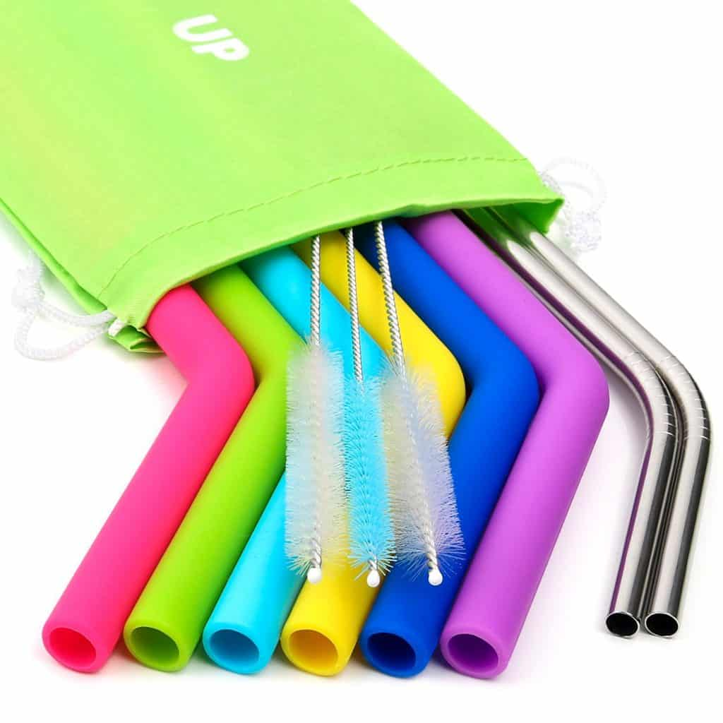Reusable, Washable Straw set. Silicone straws and Stainless steel
