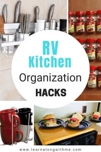 RV Kitchen Organization Hacks and Storage Ideas Collage Picture