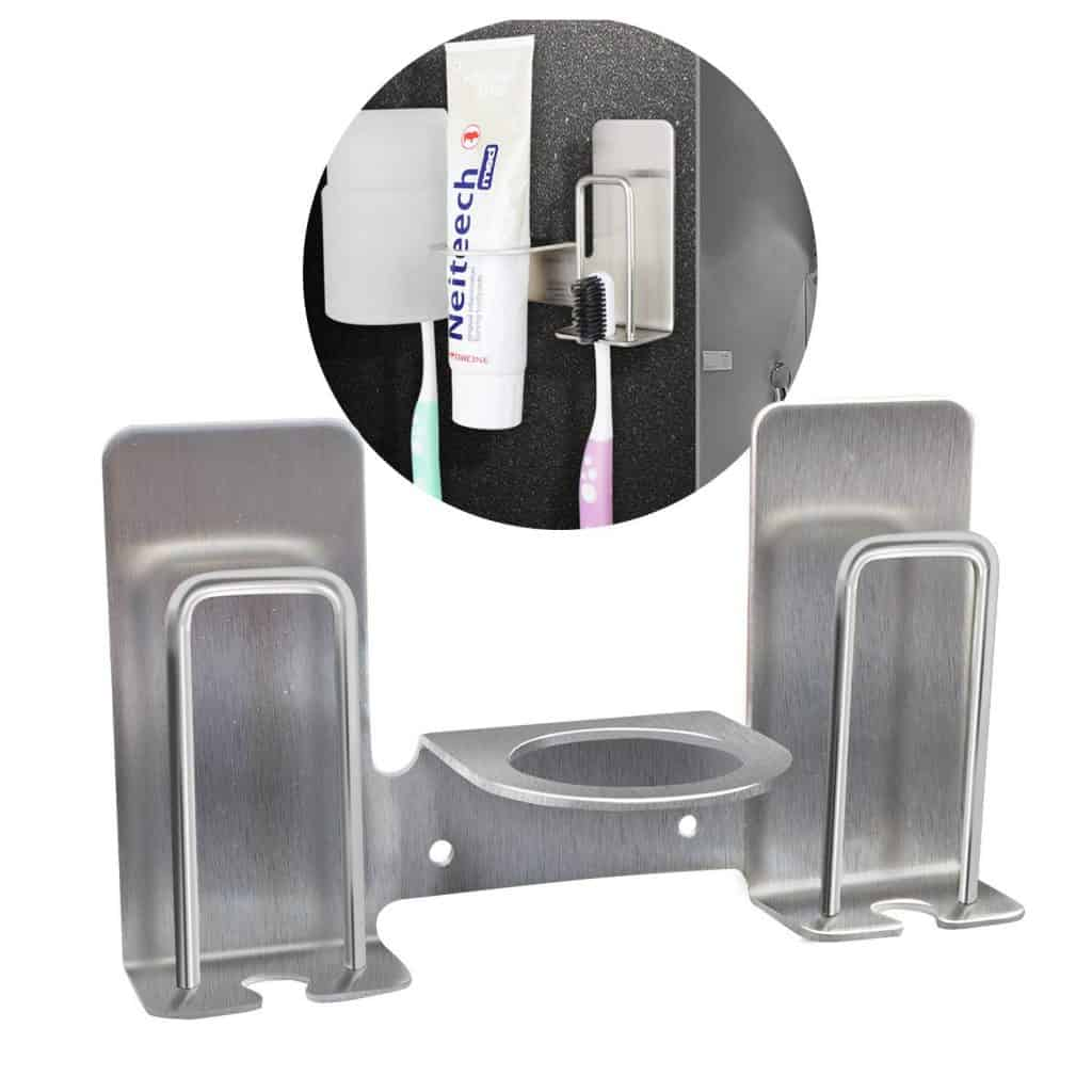 RV bathroom organizer stainless steel wall organizer makes a good rv toothbrush storage idea because it doesn't take up counter-space