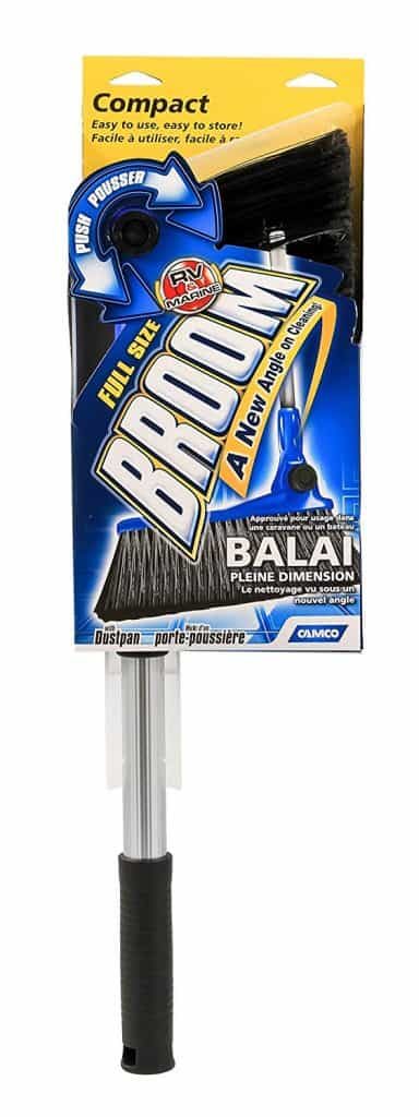 RV compact size broom doesn't take up much space in your RV so it is a great rv organization accessory