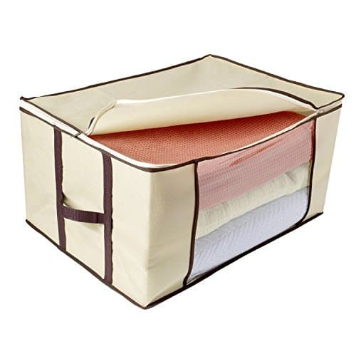 A zip up organizer bag like this one can work well to store your clothes or bedding in your RV.