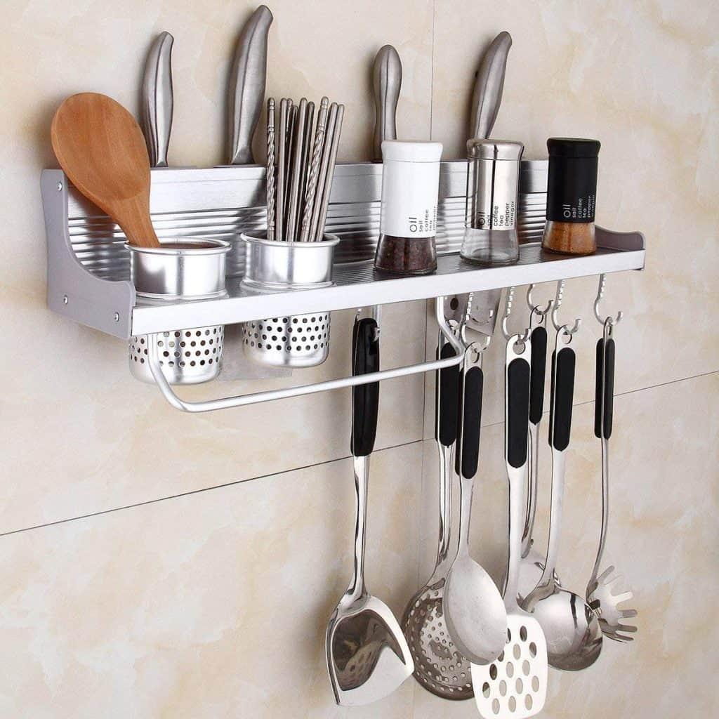 RV kitchen organization wall rack