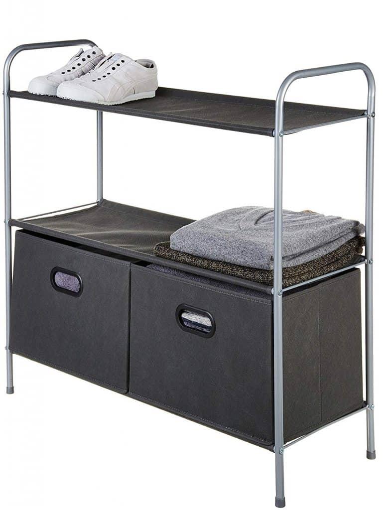 Closet Organizer - Closet storage shelf with Fabric bins