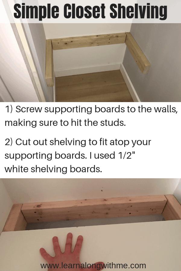 Simple Closet Shelving system for closet organization