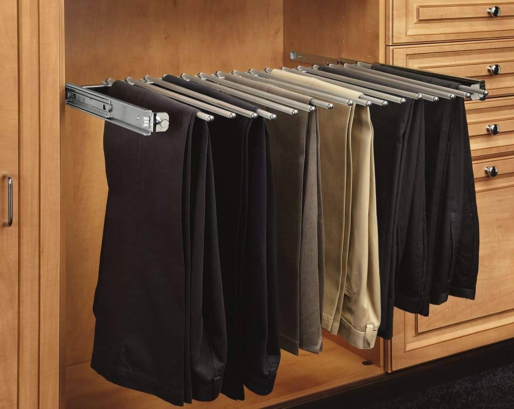 Closet pull out pant rack for easy closet storage