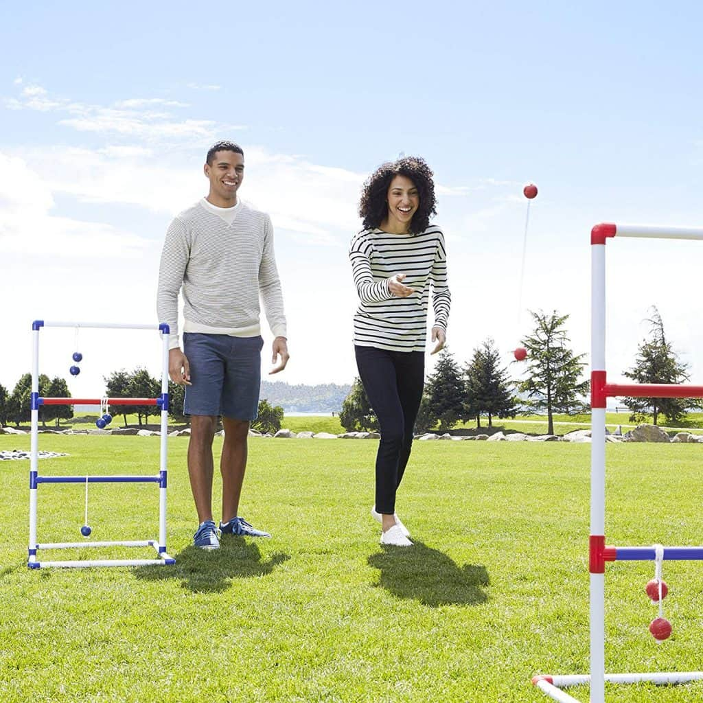 """Ladder Toss is Fun Outdoor camping Game for families where you throw golf-ball bolas over horizontal """"ladders"""""""