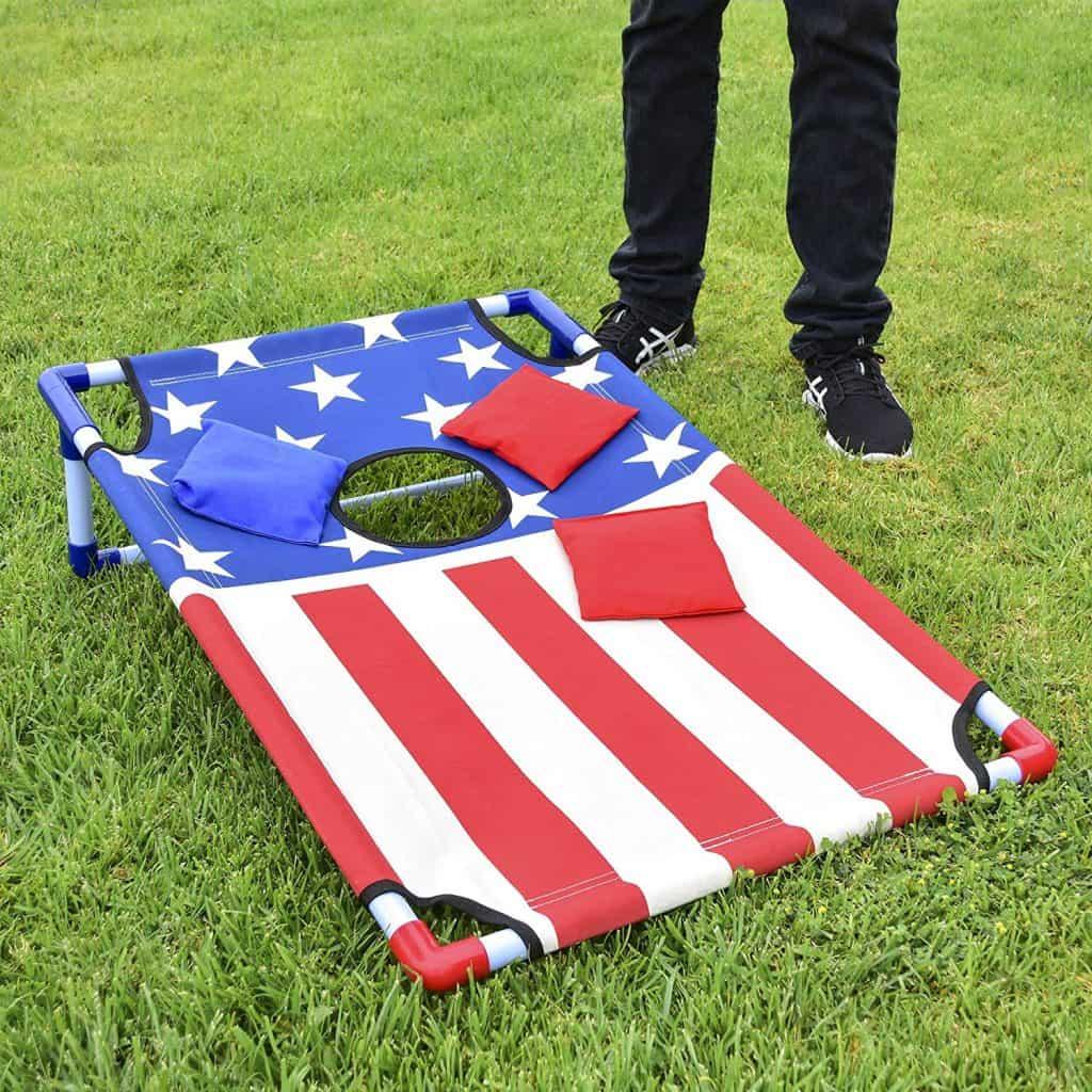 Fun outdoor camping games for families - cornhole aka bean bag toss