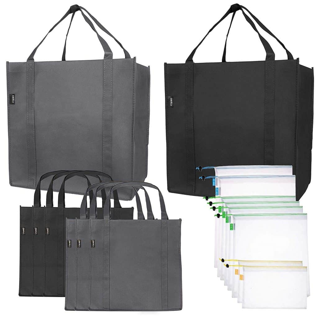 Green Kitchen Reusable Grocery bags with produce bags