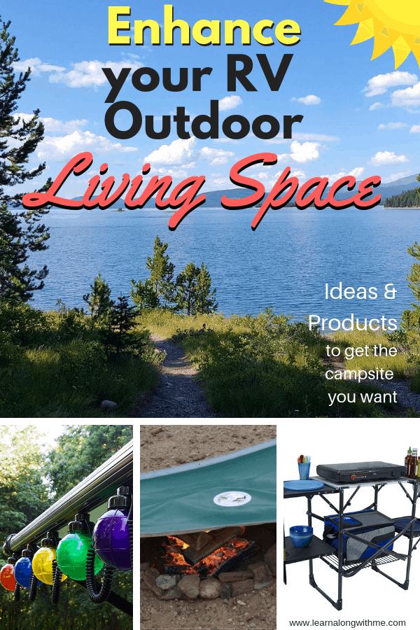 RV Outdoor Living Space - RV ideas for outside. These outdoor living RV themed ideas include RV outdoor lights, outside camper lights, outside camper decorating ideas, RV outdoor kitchen ideas and more.