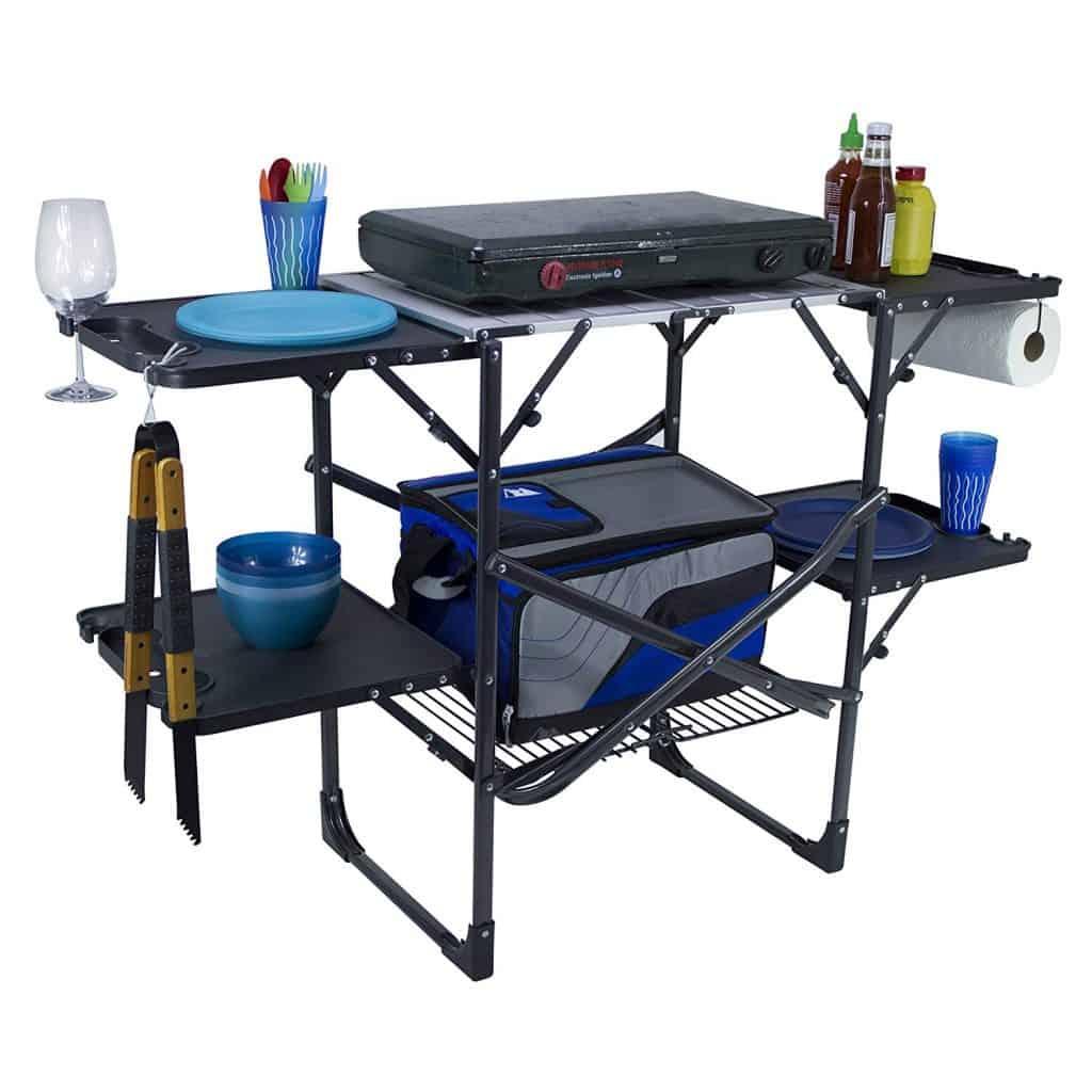 RV Outdoor Kitchen Idea Portable Cook Table - RV ideas for outside