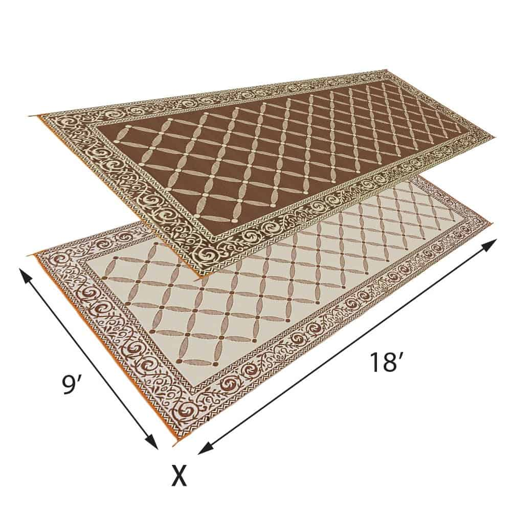 RV Outdoor Living Space Mat - RV ideas for outside.  Outdoor mats for campers like this one help keep the inside of your RV clean.