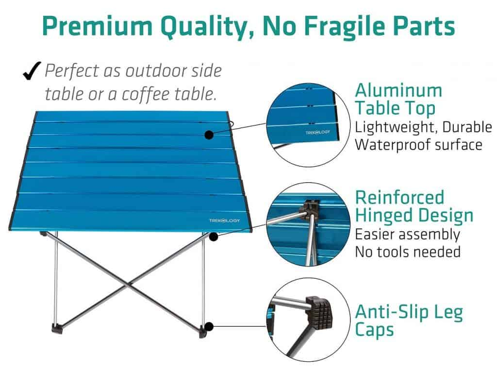 RV Outdoor Living Space Idea Folding Side table makes a convenient RV outdoor furniture idea. Lightweight and easy to pack up during RV set up and take down.