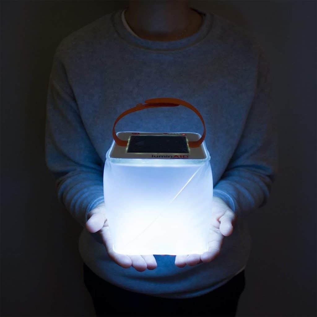 RV outdoor living idea inflatable solar lantern.  RV ideas for outside