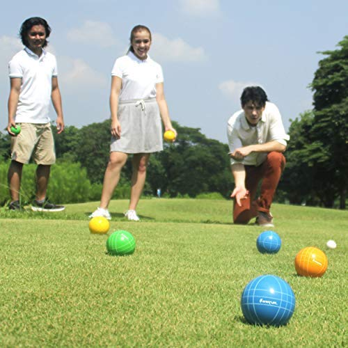 Young people playing bocce