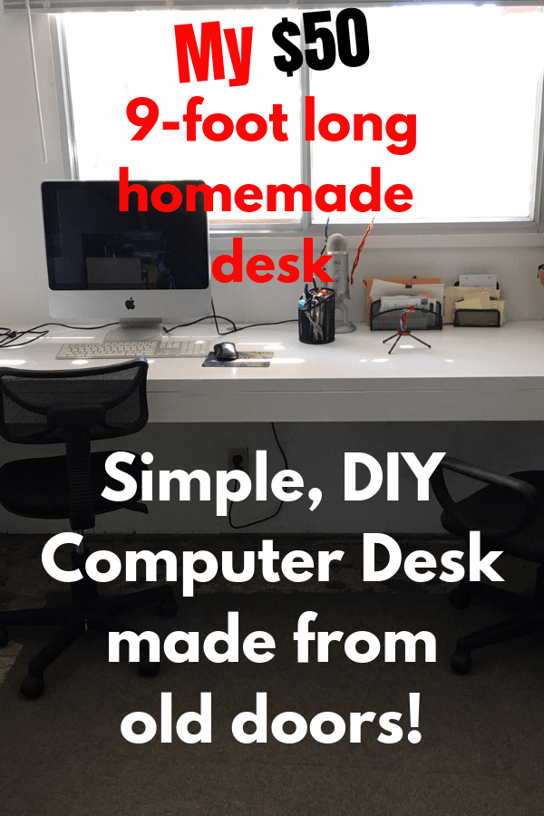 DIY Home Office Desk made from old doors