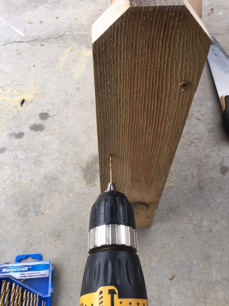 Rustic Garden Bed DIY drilling pilot holes