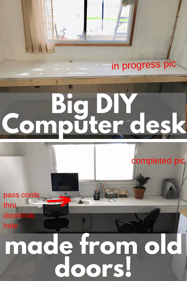 DIY Home Office Desk - how I made a large computer desk using some wood and old doors. I'm way happier with my DIY home office now.