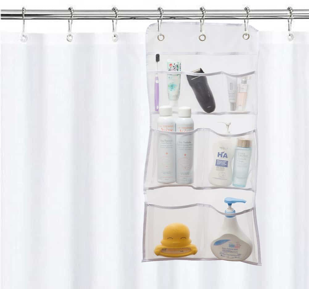 RV Organization Ideas - RV Bathroom Storage - hanging shower curtain organizer