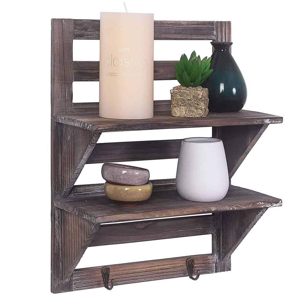 RV bathroom storage ideas and organization ideas and decor. A rustic style shelf