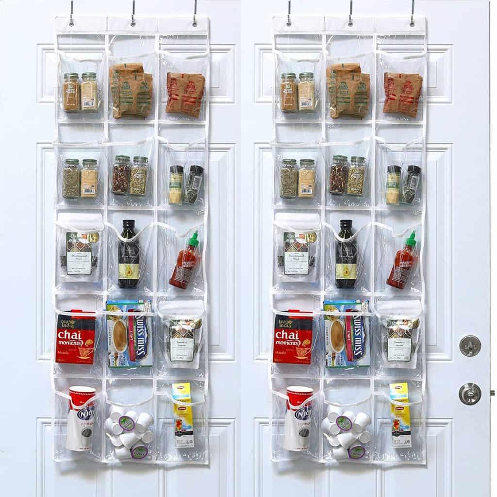 RV Bathroom Storage Idea - over the door pocket organizer will help you organize lots of little items in your RV bathroom.