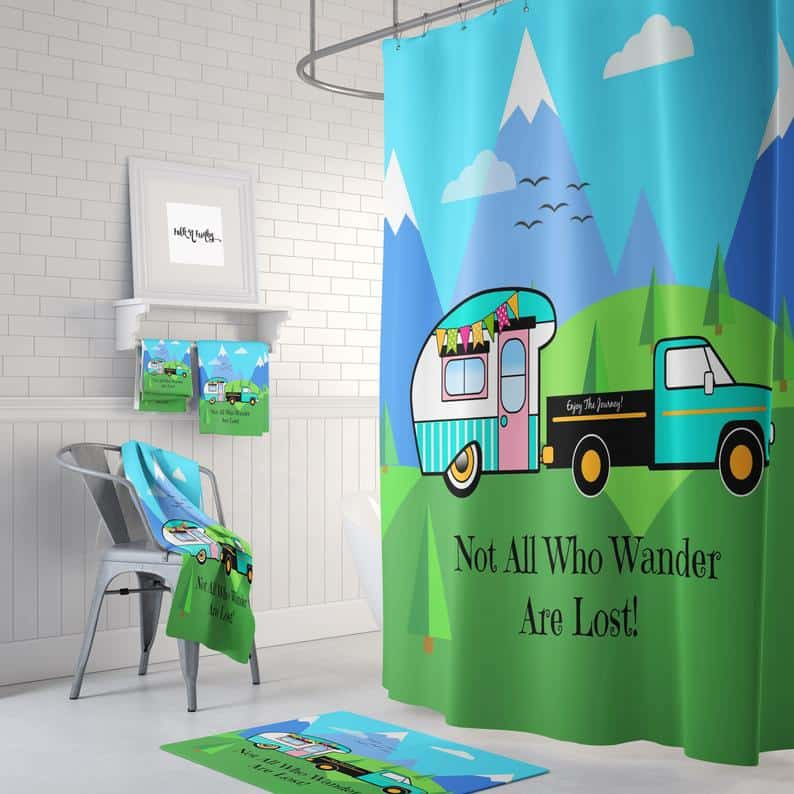 """""""Not all who wander are lost"""" rv and camper themed shower curtain. it could work well on your outdoor camping shower, or in your Rv bathroom, or in your home."""