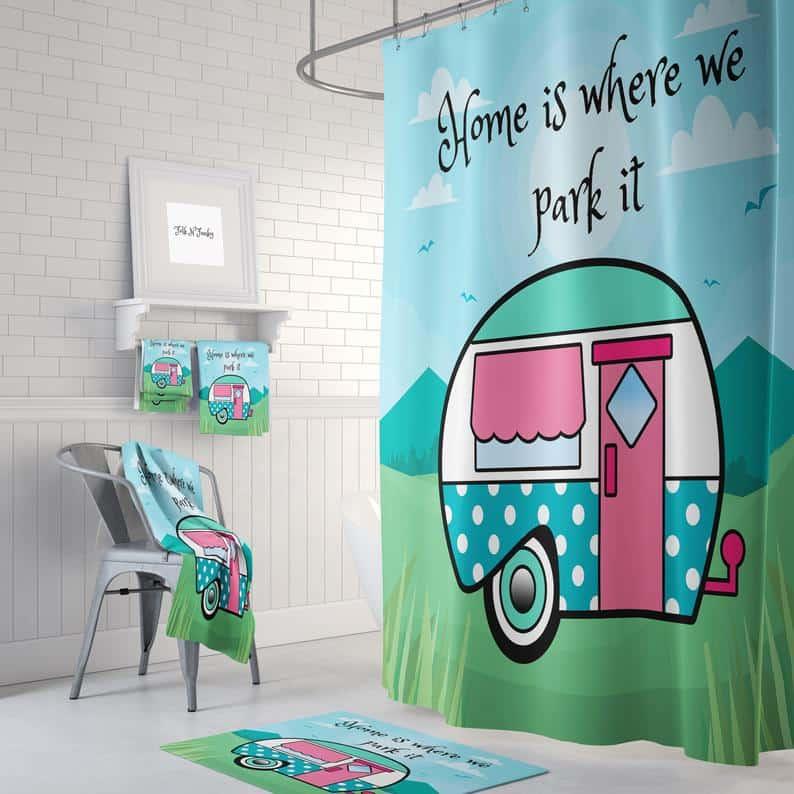 RV Bathroom storage ideas, organization ideas and decor. A cool retro teardrop camper design for your shower curtain. It'll definitely make your RV bathroom standout.