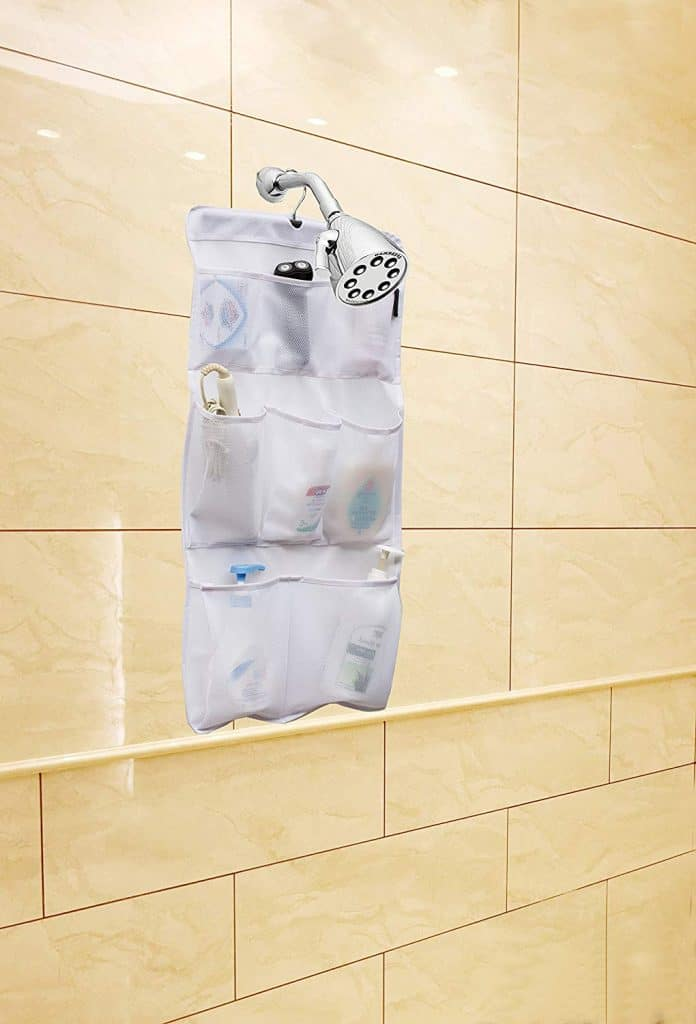 RV Bathroom Storage Ideas - Shower Nozzle Caddy will keep things up and off the bathtub floor. This RV shower caddy is great because you can take it with you to public showers if you want
