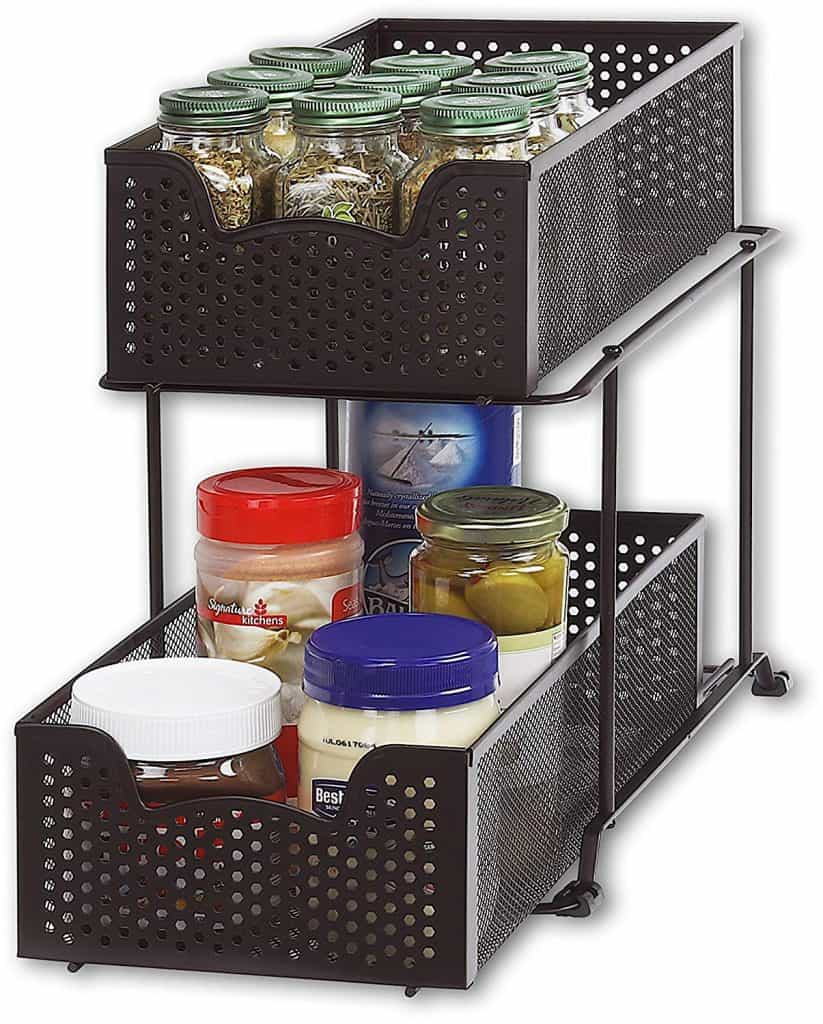 RV organization ideas - RV Bathroom Storage Ideas - inside cabinet sliding organizer
