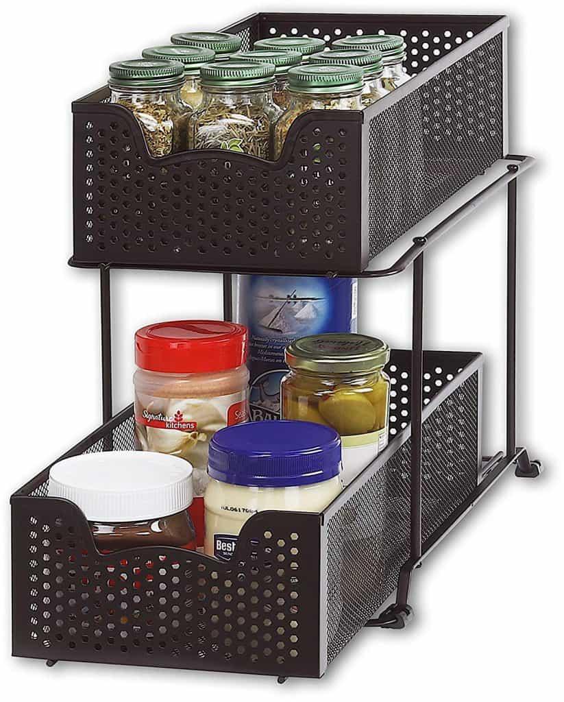RV Bathroom Storage Ideas - inside cabinet sliding organizer