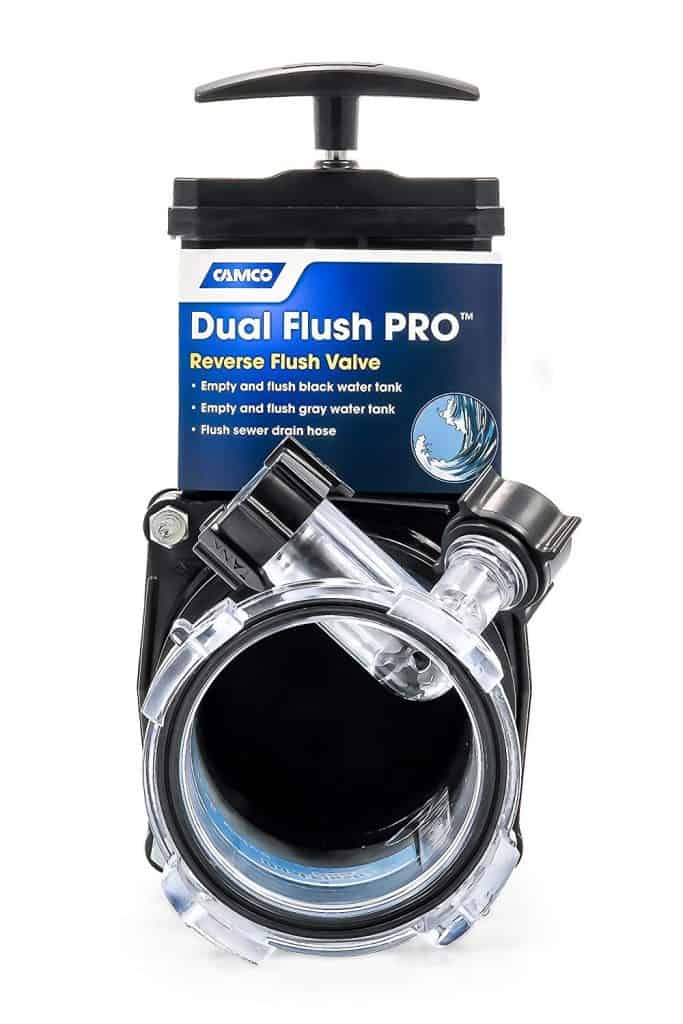 "RV accessories dual flush valve called the ""Dual Flush Pro Reverse Flush Valve"" by Camco"