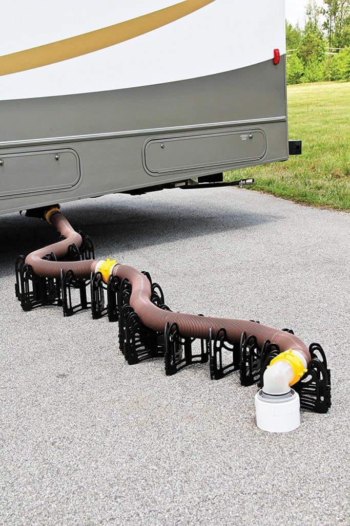 RV accessories sewer hose support to help aid in the flow of the sewage but also protects your sewer pipe.