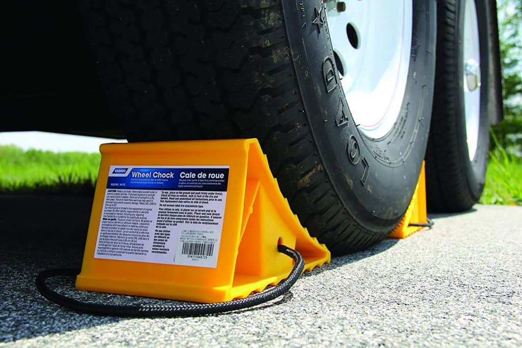 RV Accessories. Wheel chocks with  rope attached