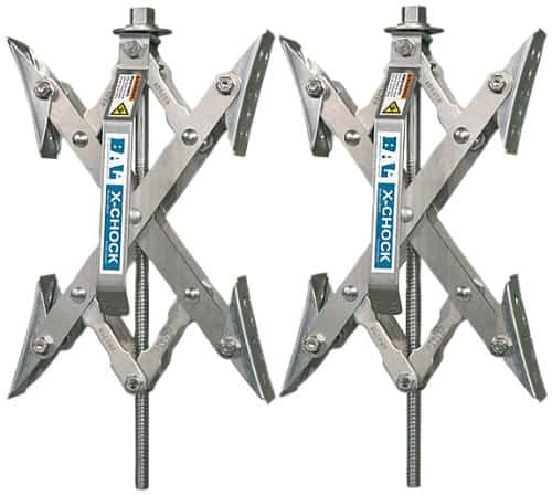 RV accessories - the X-Chock RV tire stabilizer that helps to secure and stabilize your RV while parked.
