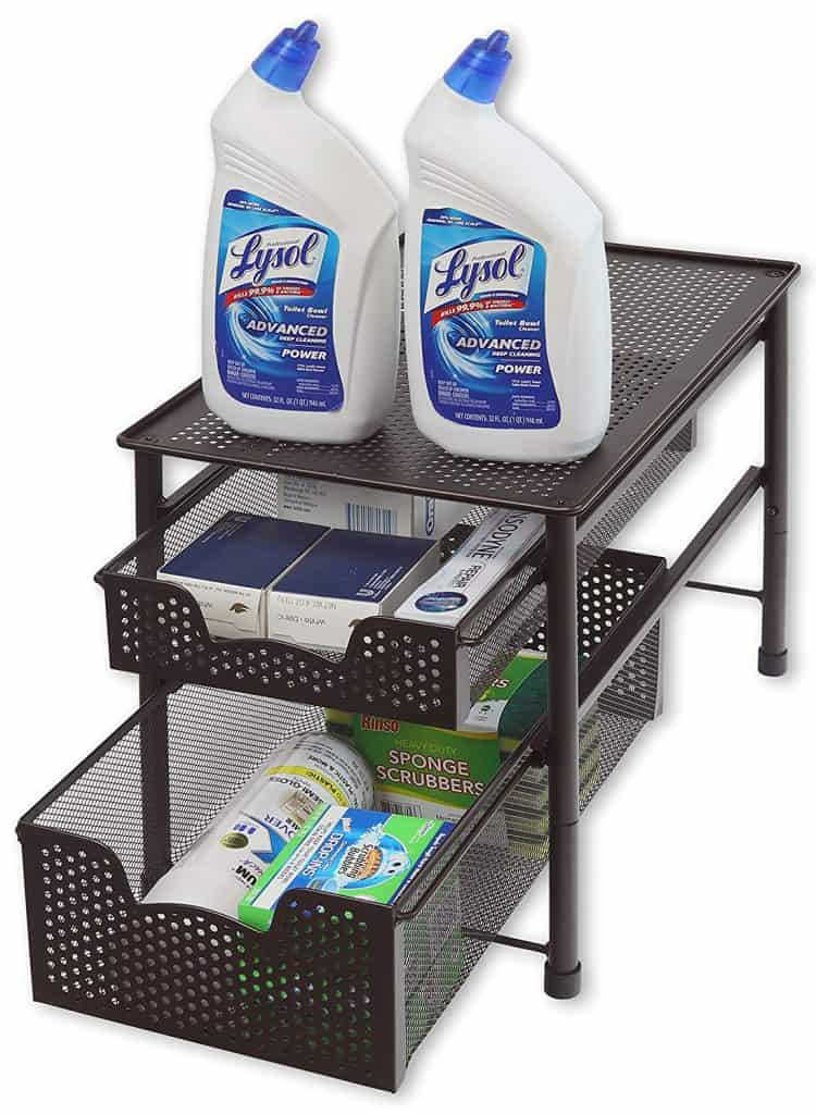 RV Organization Idea - RV kitchen organization ideas - sliding drawers allow you to get more use of the storage space under the kitchen sink.