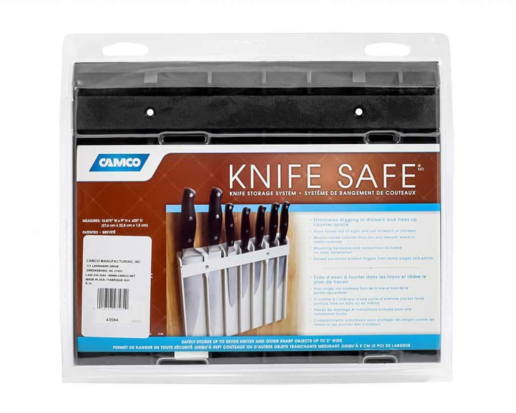 RV Kitchen Organization Hacks. The Knife safe by Camco is a clever RV kitchen storage idea to help keep your knives on the wall.