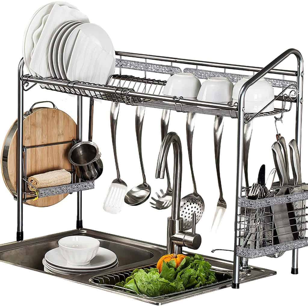 RV kitchen organization ideas. An over the sink drying rack