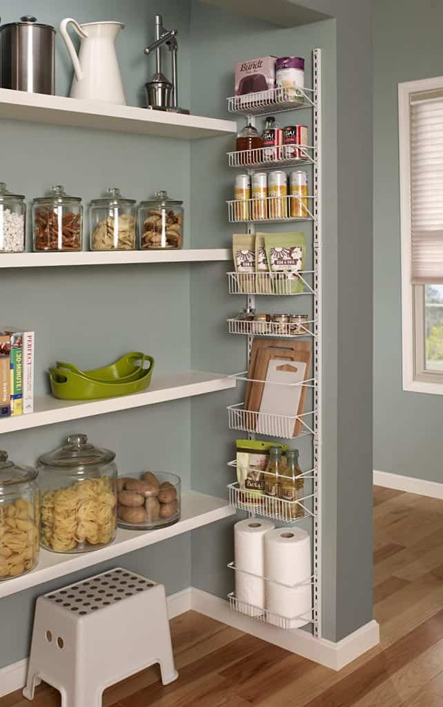 Spice Storage Ideas wall-mounted spice rack. This can be a great spice rack idea for small kitchens if you have a wall or inside a door to install it.