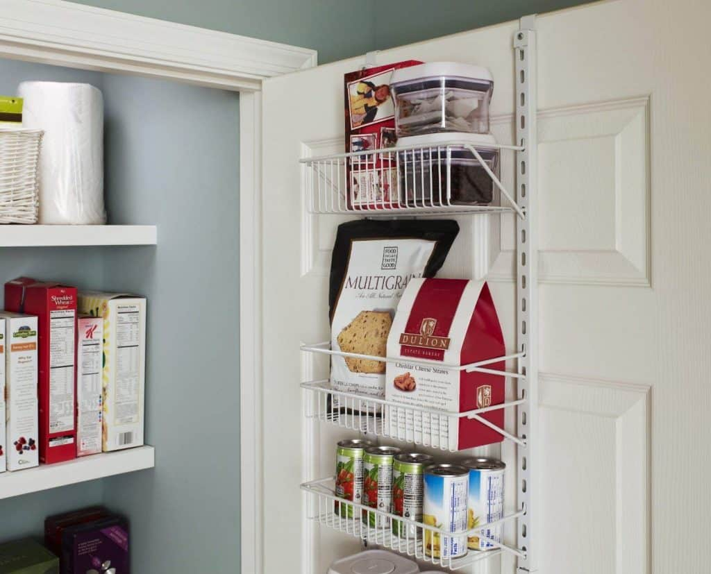 Over the door spice rack makes a great spice rack idea for small kitchens because it makes use of wasted space
