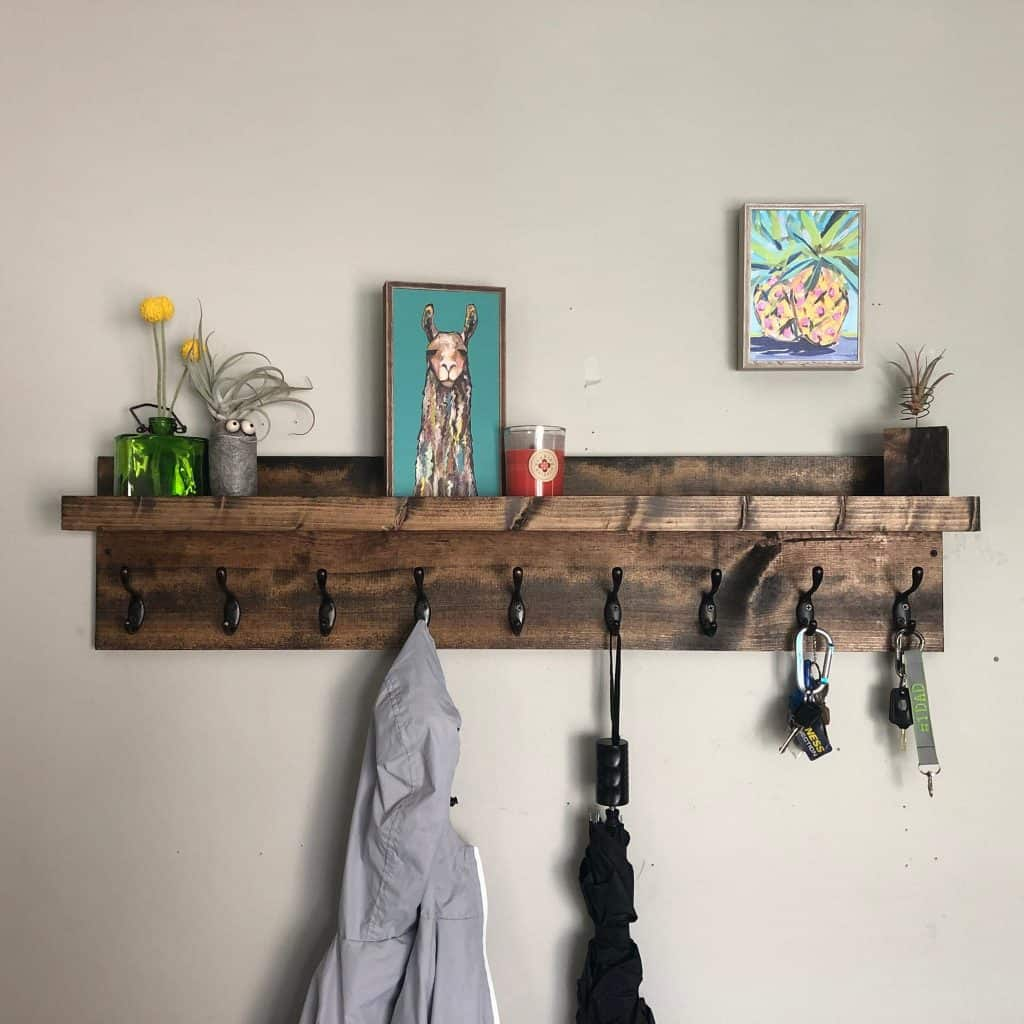 Entryway organizer wall mounted shelf with coat hooks