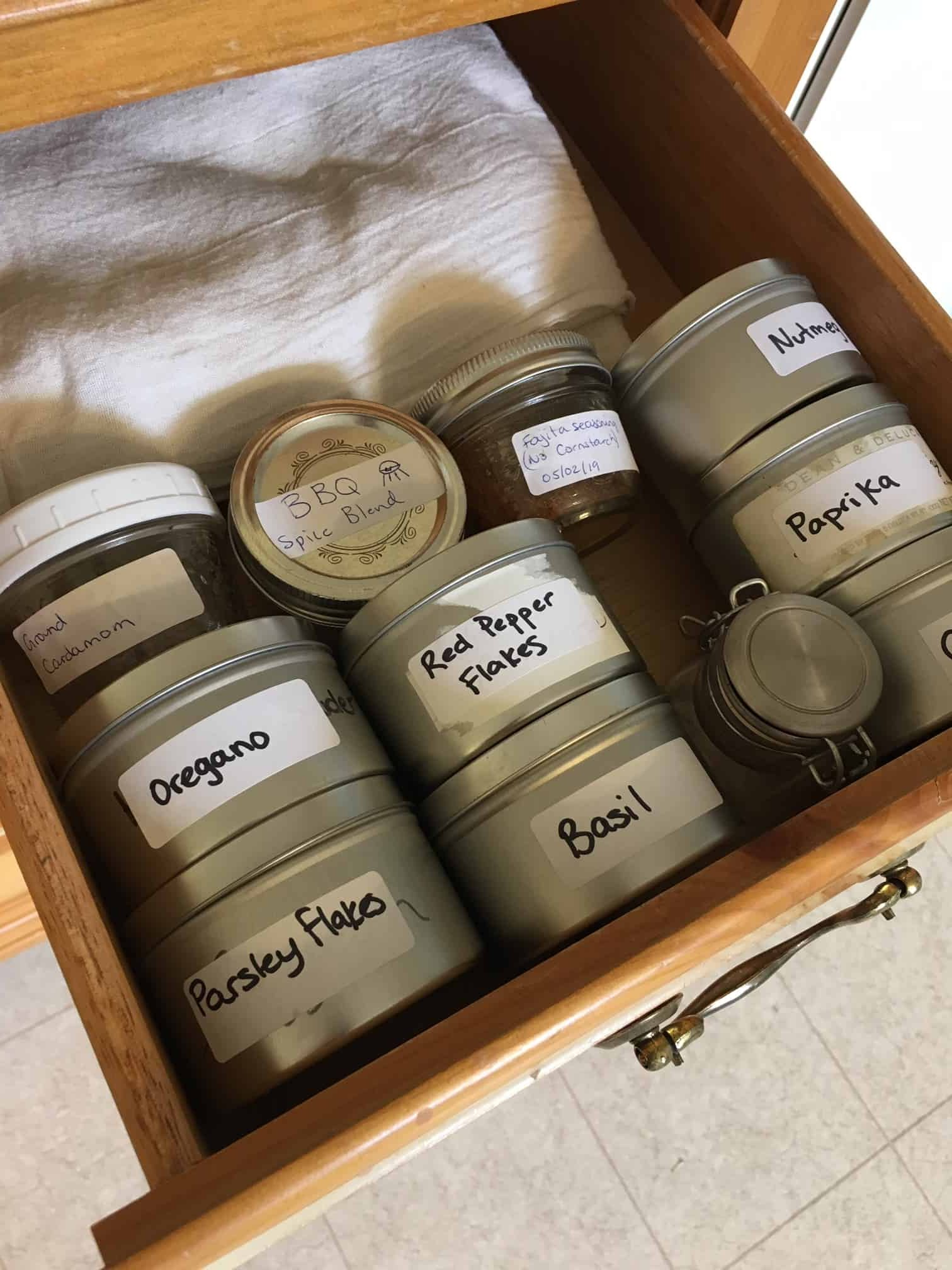 Spice storage ideas - put your spices into a drawer. This helps to keep them off your countertop.