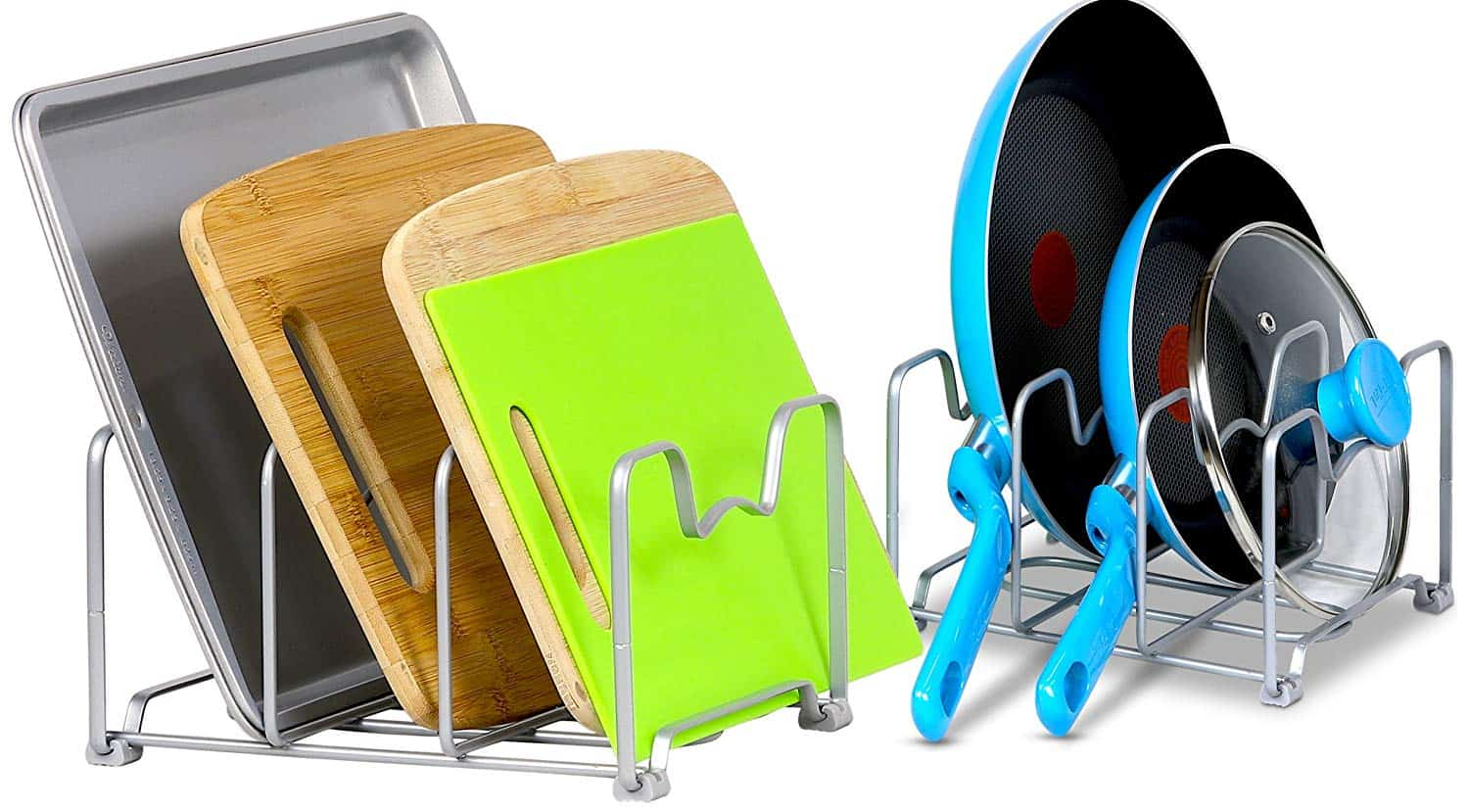 Kitchen Cabinet Organization iDeas - use a pan and lid rack