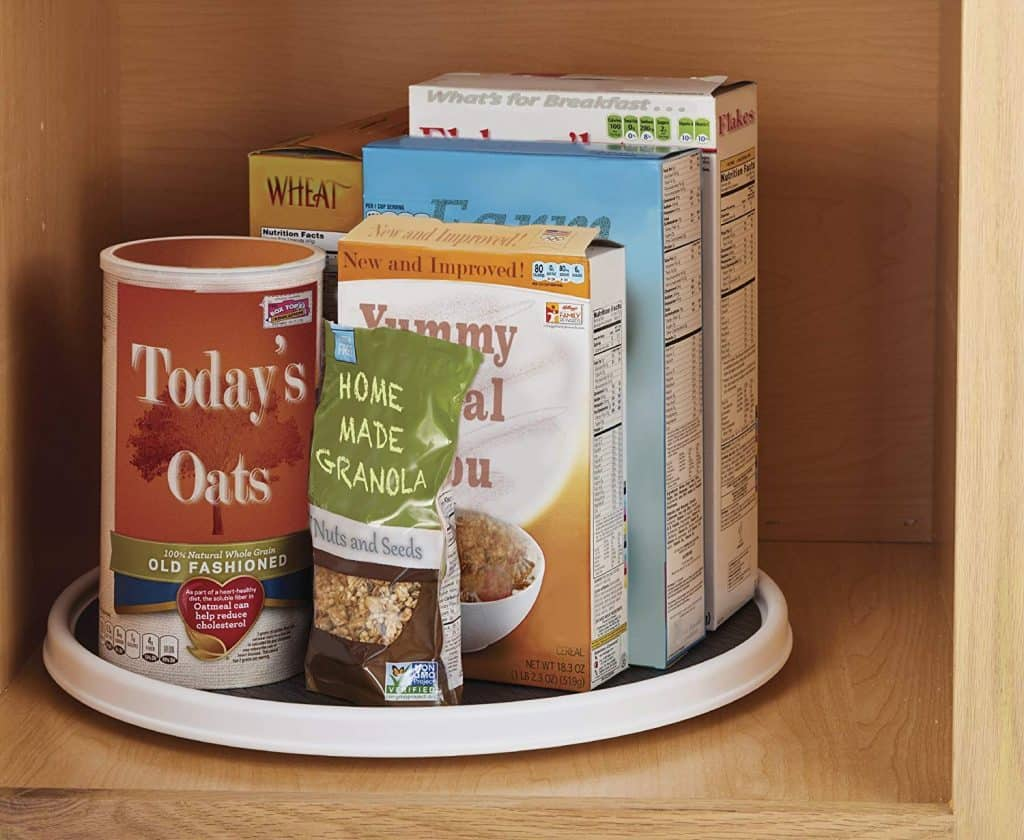 A lazy susan in your RV kitchen cabinet can help you access and organize your food for your camping trips.