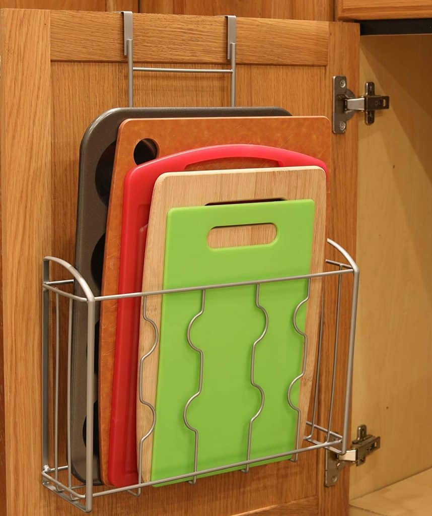 An over the cabinet door shelf makes a great rv kitchen organization accessory