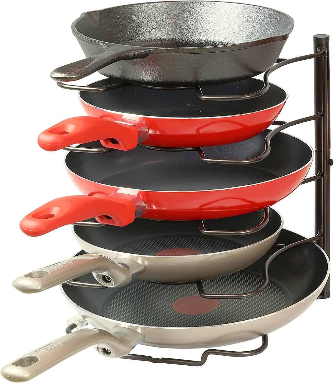 Kitchen cabinet organizer pan rack