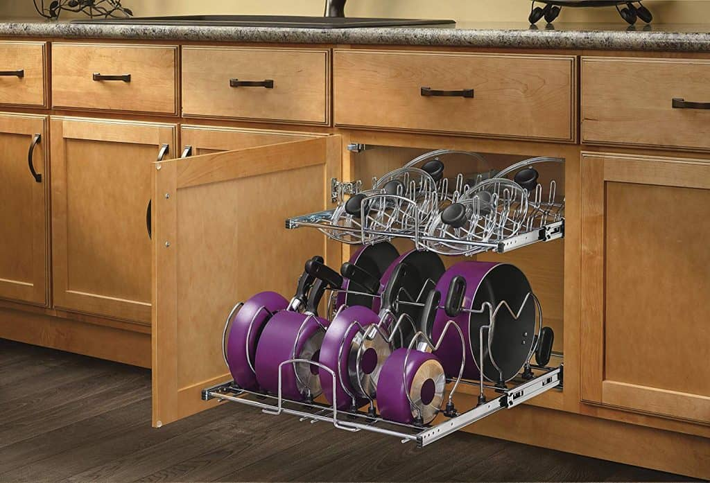 Kitchen Cabinet Organization Ideas  - slide out shelves for lids and pans